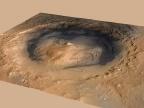 Krater Gale obecnie z zaznaczonym miejscem lądowania Curiosity. Credit: NASA/JPL-Caltech