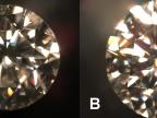 Zdjęcie A – diament syntetyczny, wytworzony metodą HPHT. Zdjęcie B – diament naturalny. Foto: Włodzimierz Łapot