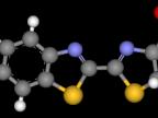 Model lucyfery robaczków świętojańskich (kolor żółty – siarka, niebieski – azot, czarny – węgiel, czerwony – tlen, biały – wodór) (Foto: wikipedia.org)