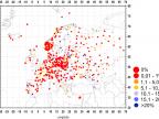Rozmieszczenie stacji meteorologicznych w Europie wraz z procentem dni z brakującymi danymi