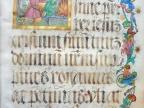 """Karta pergaminowa z inicjałem """"Ofiara Abrahama"""". Missale Cracoviense. Argentine: Melchior Lotter, 1502–1505. Ze zbiorów Wiktora h. Baworowskiego, obecnie w LNNBU im. W. Stefanyka"""