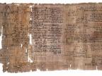 Papirus Matematyczny Rhinda zawierający obliczenia liczby π (lewa część pierwszego rozdziału, ok. 1550 p.n.e.), nabyty przez szkockiego prawnika A.H. Rhinda podczas swego pobytu w Tebach w 1850 r. Fot. wikipedia.org