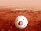 Artystyczna wizja lądowania łazika Perseverance na Marsie | Image Credit NASA/JPL-Caltech