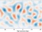 Mapa B-modów polaryzacji odkrytych przez zespół BICEP2. Na osi pionowej deklinacja, na poziomej – rektascensja (obie współrzędne w stopniach kątowych). Badany obszar na sferze niebieskiej został wybrany w rejonie najmniej zanieczyszczonym przez promieniowanie mikrofalowe naszej Galaktyki (Foto: www.wired.com)