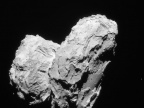 Kometa 67P/Churyumov-Gerasimenko, zdjęcie wykonane przez sondę Rosetta 28 września 2015 roku. Fot. ESA/Rosetta/Navcam – CC BY-SA IGO 3.0