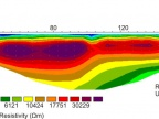 Wynik tomografii elektrooporowej na torfowisku w północnej Skandynawii, okolice Abisko. Wysokooporowa warstwa (w kolorach czerwono-brązowych) to grunt objęty permafrostem