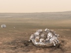 Schiaparelli na powierzchni Marsa. Fot. ESA/ATG medialab