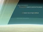 Ilistracja przedstawiająca względne wysokości ostatnich pięciu zbliżeń sondy do górnych warstw atmosfery Saturna w porównaniu z wysokością, na jakiej dojdzie do utraty kontaktu z Ziemią. Fot. NASA/JPL-Caltech