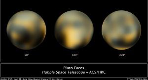 Najdokładniejsze w 2010 roku obrazy Plutona stworzone na podstawie zdjęć Teleskopu Hubble'a z wykorzystaniem techniki ditheringu. By NASA, ESA, and Marc W. Buie (Southwest Research Institute) - Hubblesite STScI-2010-06 (New Hubble Maps of Pluto Show Surface Changes; The Changing Faces of Pluto), Domena publiczna, https://commons.wikimedia.org/w/index.php?curid=9398979
