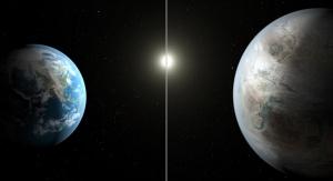 Artystyczna koncepcja porównania wielkości Ziemi do planety Kepler-452b. Fot. NASA/JPL-Caltech/T. Pyle