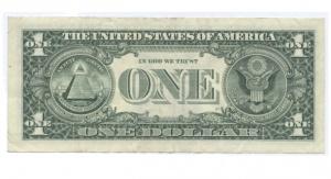 Rewers banknotu jednodolarowego