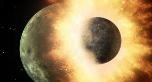 Artystyczna wizja kolizji młodej Ziemi z Theią. Fot. NASA/JPL-Caltech