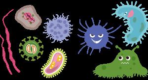 Rysunek humorystyczny - różne drobnoustroje - bakterie, wirusy, grzyby, pleśnie