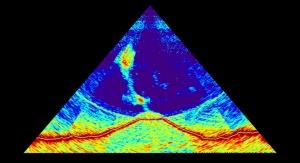 Fale sonaru wielowiązkowego odbijające się od dna morskiego w pobliżu francuskiej wyspy Majotta, ujawniają zarys wulkanu o wysokości 800 metrów (czerwony) i wznoszący się, bogaty w gazy pióropusz. | fot. zespół Mayobs (CNRS / IPGP-Université de Paris/ IFREMER / BRGM)