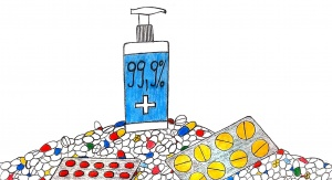 Odręczny rysunek przedstawia butlę z dozownikiem zawierającą płyn do dezynfekcji stojąca na stosie różnych tabletek