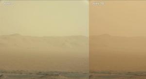 Burza piaskowo-pyłowa na Marsie. Image Credit: NASA/JPL-Caltech/MSSS