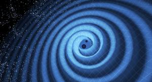 Wizualizacja zderzenia dwóch czarnych dziur. Fot. T. Pyle/LIGO