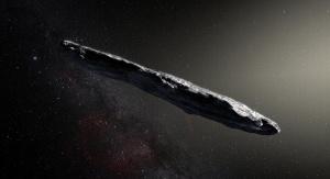 Artystyczna wizja asteroidy 'Oumuamua. Image Credit: European Southern Observatory/M. Kornmesser