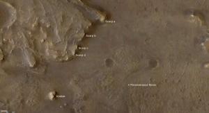 Zdjęcie obszaru działania łazika Perseverance wraz z badanymi obiektami   Image credit: NASA/JPL-Caltech/University of Arizona/USGS