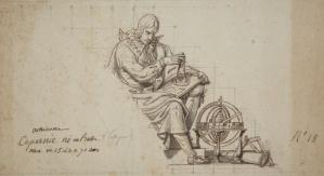 Projekt dekoracji ściennej z postacią Kopernika, rysunek tuszem XVIII w. Autor nieznany. Źródło: http://copernicus.torun.pl/galeria/wizerunki/malarstwo_i_grafika/?view=galeria2&lang=pl&file=15_033
