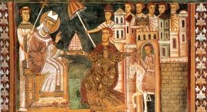 Św. Sylwester i cesarz Konstatntyn I (Donacja Konstantyna). Fot. domena publiczna