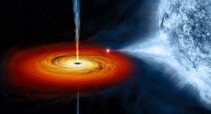 Czarna dziura zasysająca materię z nieodległego obiektu - artystyczna wizualizacja. Credit: NASA, CXC, M. Weiss