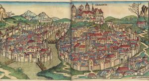 Widok Krakowa w Kronice Hartmanna Schedla, 1493. Fot. domena publiczna