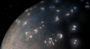Błyskawice na północnej półkuli Jowisza. Credits: NASA/JPL-Caltech/SwRI/JunoCam
