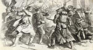 Strona tytułowa ulotki informacyjnej wydanej przez miasta uczestniczące w obchodach 150-lecia wybuchu powstania styczniowego. Fot. wikipedia.org