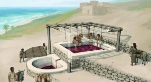 Rekonstrukcja odkrytej prasy winiarskiej. Dzięki uprzejmości Tell el-Burak Archaeological Project
