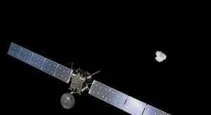 Artystyczna wizja Rosetty zbliżającej się do komety 67P/Czuriumow-Gierasimienko. Fot. Spacecraft: ESA/ATG medialab; Comet image: ESA/Rosetta/NavCam – CC BY-SA IGO 3.0