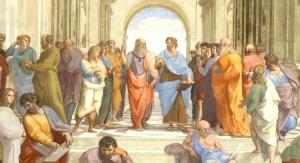 """Platon i Arystoteles – fragment fresku """"Szkoła ateńska"""" Rafaela Santi, znajdującego się na ścianie jednej z sal papieskiego Pałacu Apostolskiego w Watykanie. Raphael [Public domain], via Wikimedia Commons"""