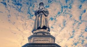 Pomnik Leonardo da Vinci postawiony na Piazza della Scala w Mediolanie