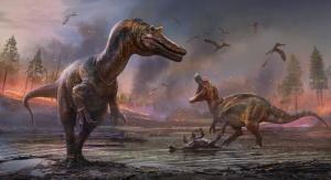 Artystyczna impresja przedstawiająca spinozaury. Autor: Anthony Hutchings, źródło: Phys.org