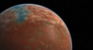 "Planeta Wolkan według wyobrażeń fanów serialu ""Star Trek"". Źródło: https://sto.gamepedia.com/File:Vulcanorbit_01.jpg"