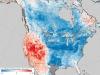 Mapa pokazująca różnicę temperatur w okresie od 26 grudnia 2017 do 2 stycznia 2018 w porównaniu do analogicznego okresu w latach 2001–2010. Mapę sporządzona na podstawie danych z spektroradiometru NASA. Credit: NASA Earth Observatory