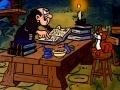 """Gargamel w swoim laboratorium. Kadr z serialu aniomowanego """"Smufry"""""""