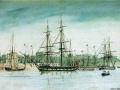 HMS Beagle w 1841 r., autor:Owen Stanley, Domena publiczna, https://commons.wikimedia.org/w/index.php?curid=393600