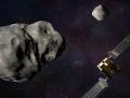 Artystyczna wizja DART i LICIACube podczas spotkania z Didymosem i Dimorphosem | Image credit: NASA/Johns Hopkins APL/Steve Gribben