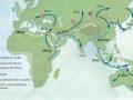 Mapa potencjalnych kierunków i ścieżek rozprzestrzeniania się Homo sapiens w późnym plejstocenie. Bae et al. 2017. On the origin of modern humans: Asian perspectives. Science. Image by: Katerina Douka and Michelle O'Reilly