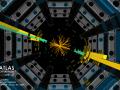 Kolizja 13 TeV rejestrowana przez detektor ATLAS. Żółte i zielone paski wskazują na obecność strumieni cząstek, które pozostawiają wiele energii w kalorymetrach. Fot. ATLAS/CERN