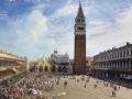"""Plac Św. Marka w Wenecji - obraz Canaletto """"Walka byków"""", obraz Cimarolli, zdjęcie współczesne"""
