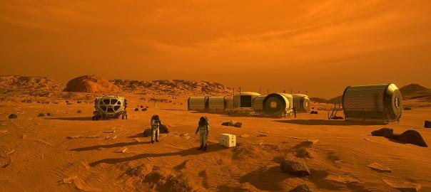 Artystyczna wizja pierwszej kolonii na Marsie | Image credit: NASA